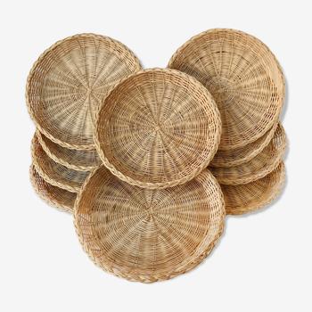 Ensemble de 10 assiettes en tressage d'osier naturel
