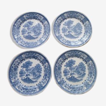 Set of 4 dessert plates in English porcelain