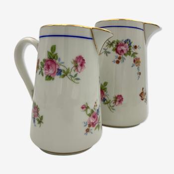 Pots à lait et crémier anciens pichets porcelaine Charles AHRENFELDT, Limoges