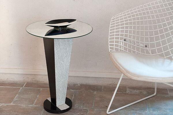 Table d'appoint en formica et plateau miroir
