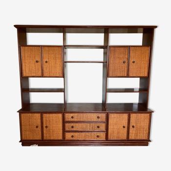 Ensemble meubles bois & bambou cannage années 80