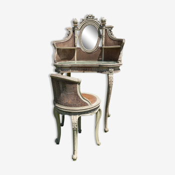 Coiffeuse et son fauteuil laqués & cannés style Louis XVI