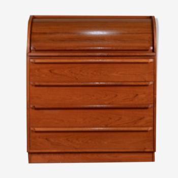 Midcentury Swedish Rolltop Teak Bureau / Drinks Cabinet / Desk In The Style Of Egon Ostergaard.