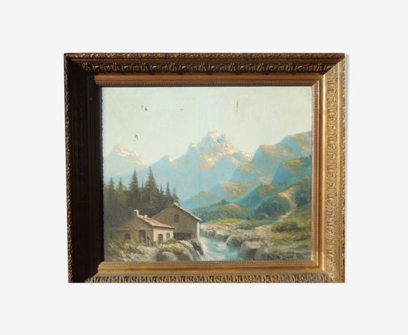 Tableau peinture montagnes paysage enneigé cadre bois doré  signé 72x62cm