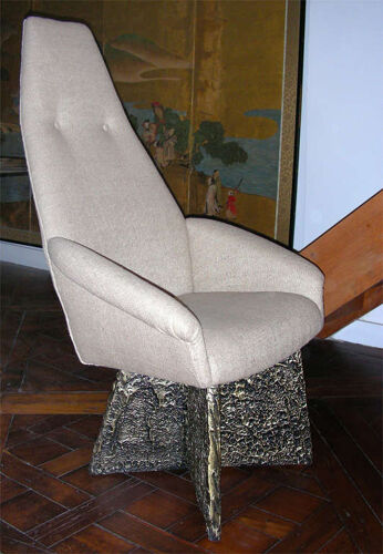 Set of 2 armchairs high back Brutalists Adrian Pearsall for Craftsman