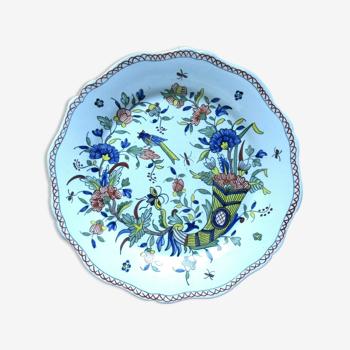Assiette signée Géo Martel: Corne d'abondance Fleurs et Oiseau