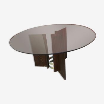 Table ronde vintage pied bois plateau verre fumé