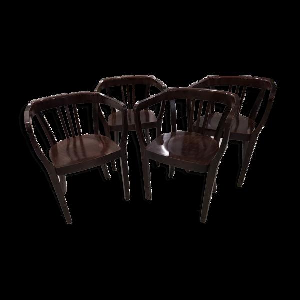 Suite de 4 fauteuils bistrot vintage