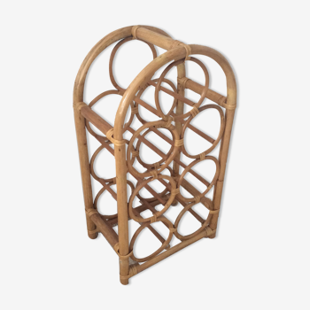 Vintage 70s bottle holder in rattan