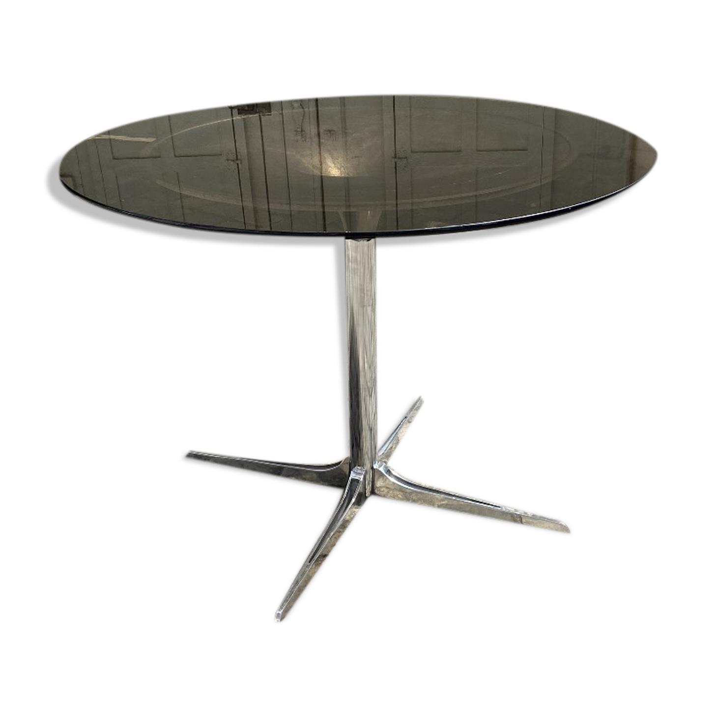 Table verre fumé italienne métal 1970