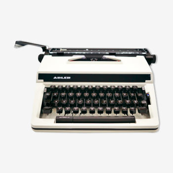 Typewriter Adler Gabrielle White vintage revised ribbon new