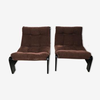 Fauteuils modernistes chauffeuses bois et velours marron vintage Années 70