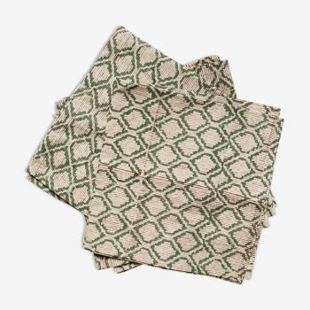 Lot de 4 serviettes block-print à rayures vertes
