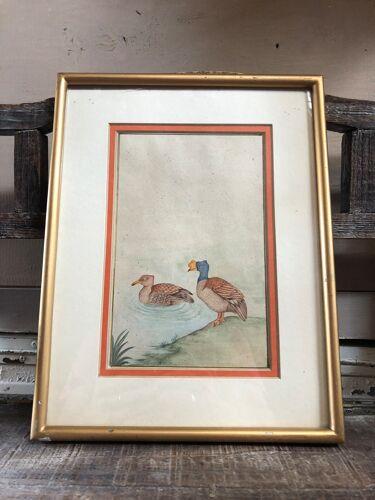 Ancien tableau dessin aquarelle vue canards + cadre doré vintage