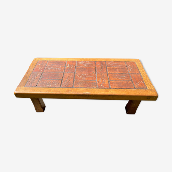 Coffee table solid oak and ceramic 1950