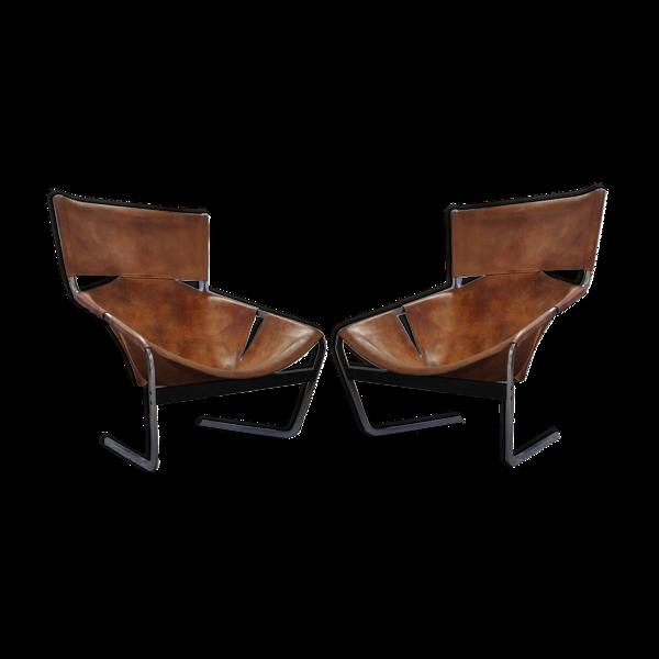 Paire de fauteuils F444 de Pierre Paulin édités par  Artifort