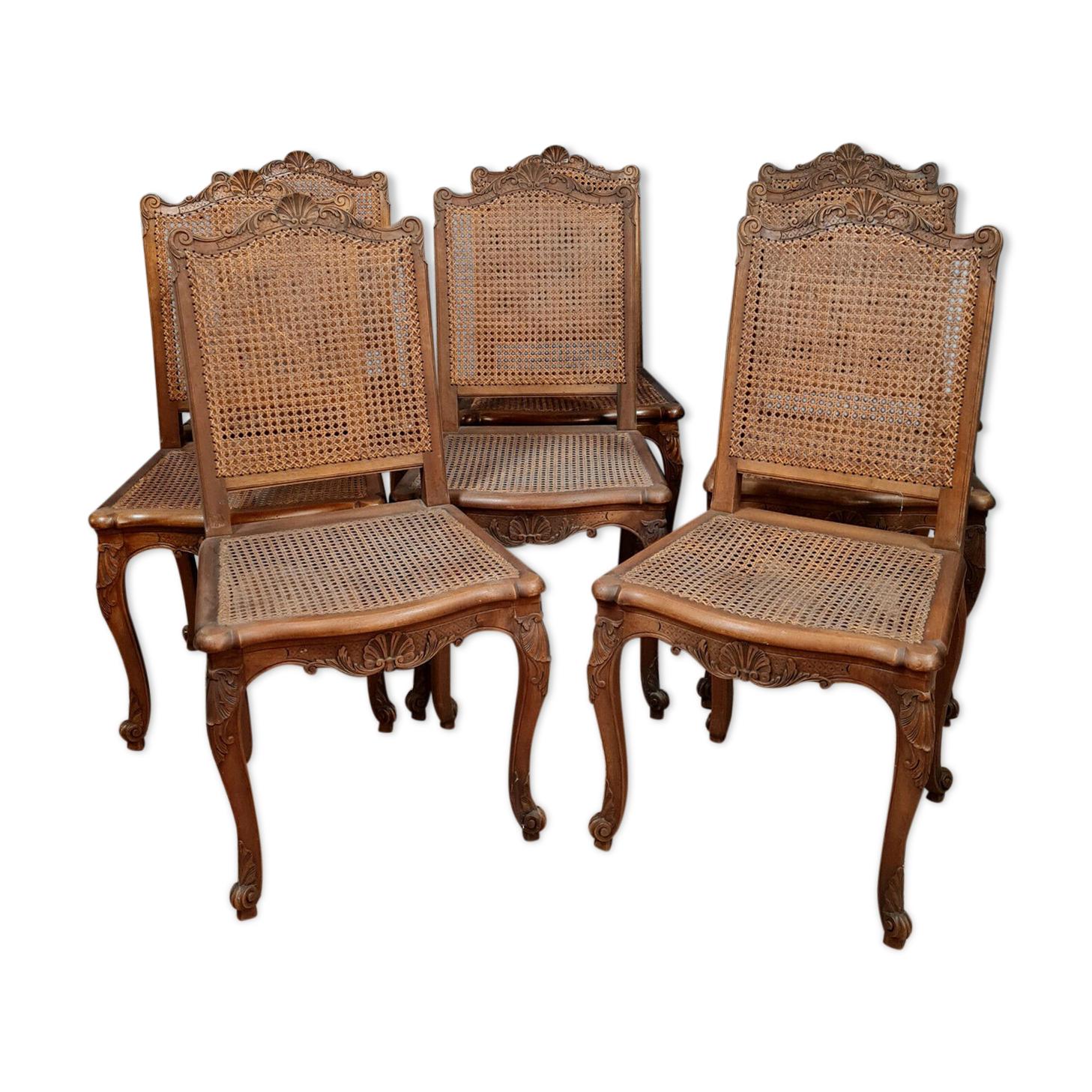 Série de 8 chaises style Louis XV provençale en bois naturel