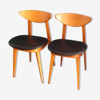 Set de 2 incroyables chaises Baumman scandinave de 1962 modele fontania