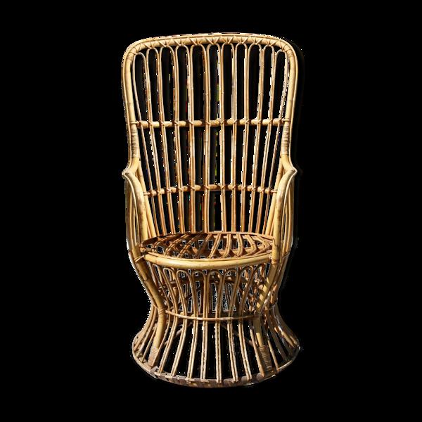 Fauteuil en osier style Emmanuelle, XXe siècle