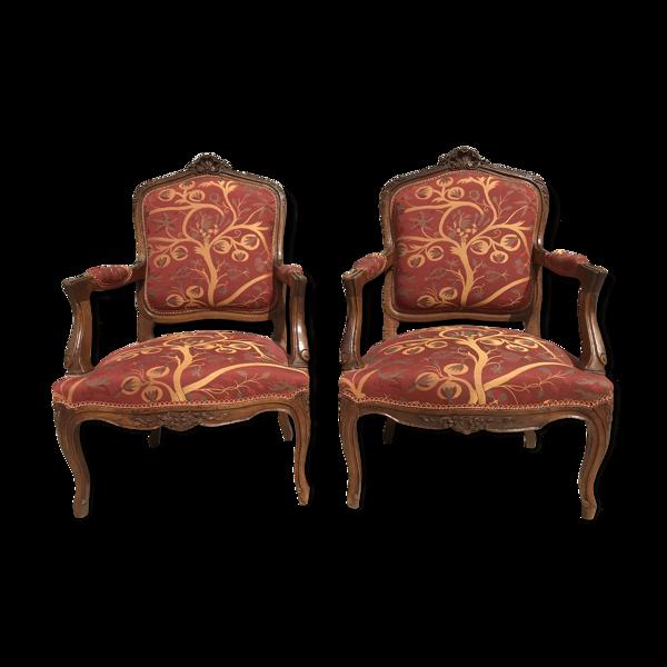 Selency Paire de fauteuils cabriolet Louis XV