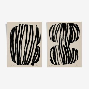 Ensemble de 2 illustrations abstraites