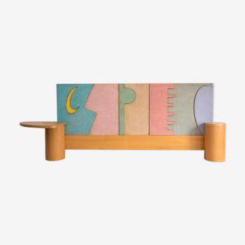 Vintage postmodern headboard by Luigi Radici for Arch. Rossini