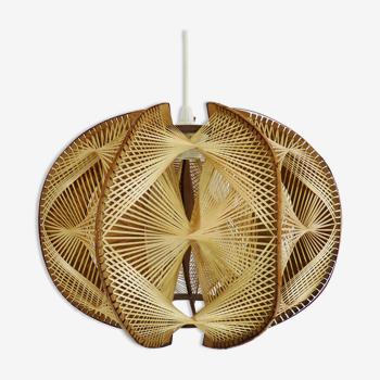 Suspension scandinave vintage en bois et fils tendu suspension géométrique. année 60