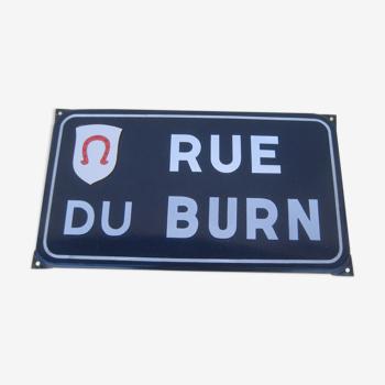 Plaque de rue émaillée ancienne, rue du Burn