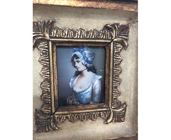 Portrait miniature femme début 20eme