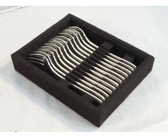 12 fourchettes a huitres christofle art deco modele boreal par luc lanel