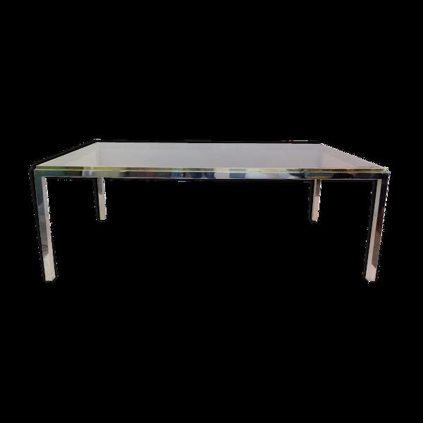 Table à manger rectangulaire en laiton chromé