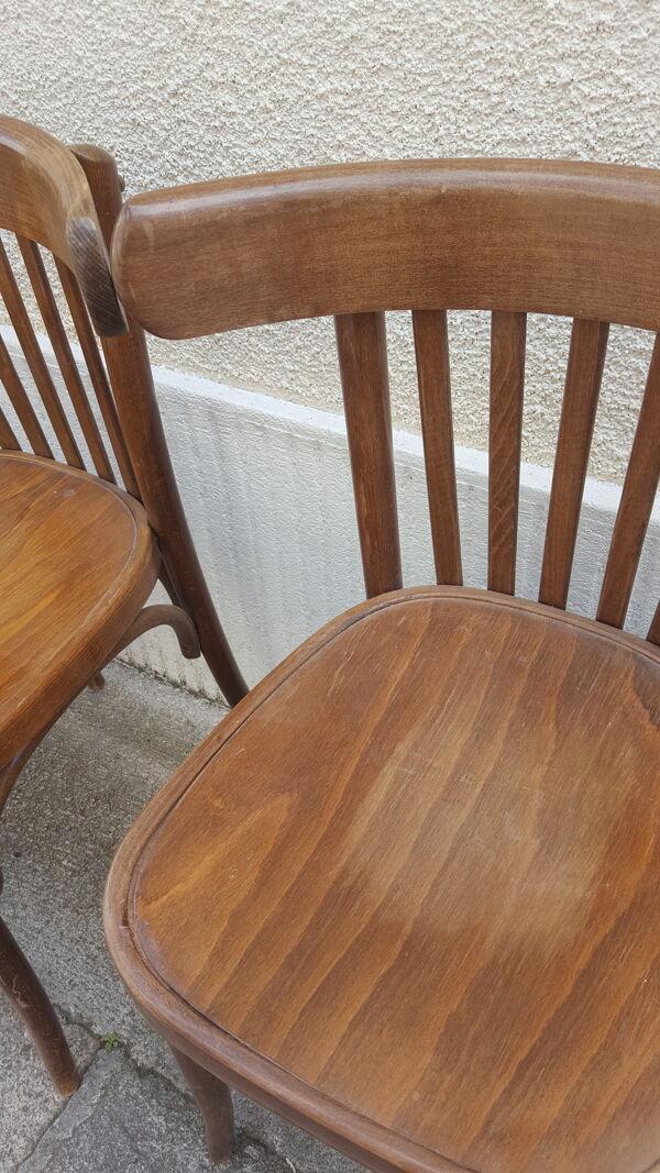 Set de 6 chaises bistrot en bois courbé années 30 / 40