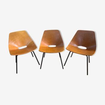 Ensemble de 3 chaises tonneau Pierre Guariche édition Maisons du Monde