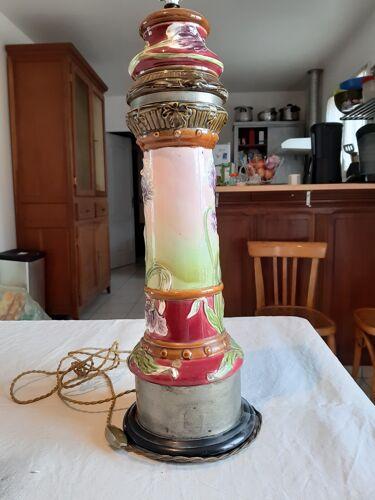 Pied de lampe en Barbotine 19 ème