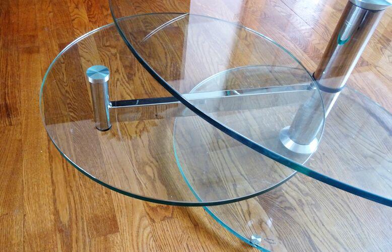 Table basse en verre design transparente et transformable