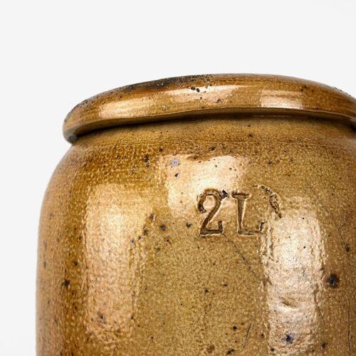 Duo d'anciens pots à sel en grès vernissé