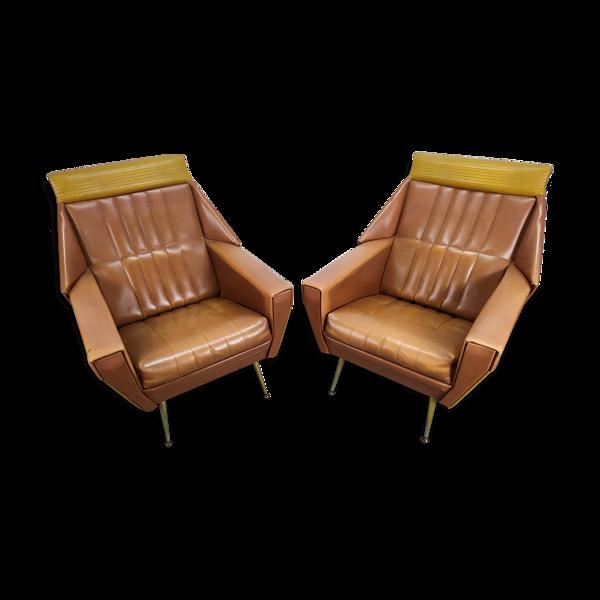Paire/lot de 2 fauteuils skaï marron année 60