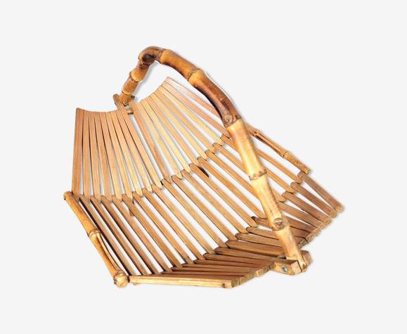 Corbeille bois bambou 1970