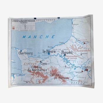 Affiche géographique - bretagne - normandie - rossignol