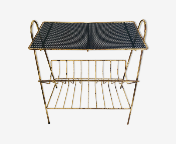 Table d'appoint porte vinyle métal noir et laiton