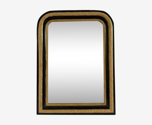 Miroir Napoleon III - noir et or - 104x78cm
