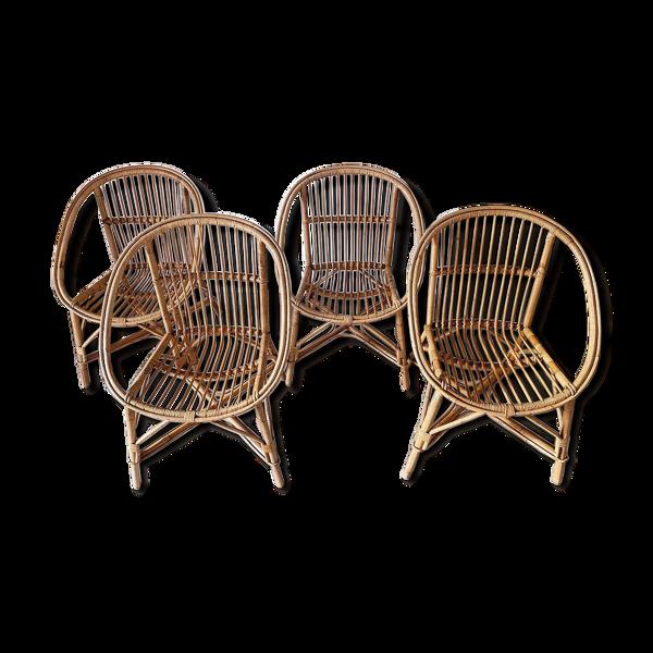 4 fauteuils en rotin, forme corbeille