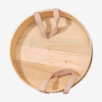 Plateau en bois et cuir