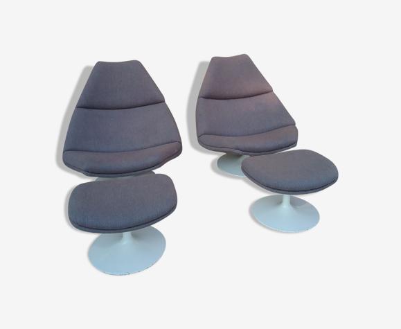 Paire de fauteuils et poufs de Geoffroy Harcourt pour Artifort
