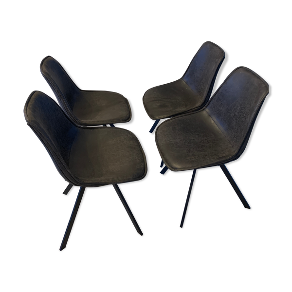 Chaises vintage en cuir metalandwoods