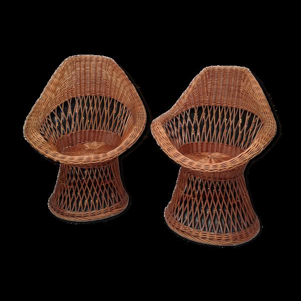 Selency Paire de fauteuils  diabolo en rotin années 60