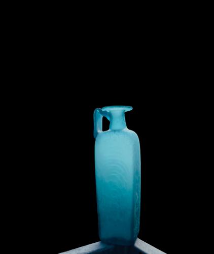 Carafe ancien en verre givré vert