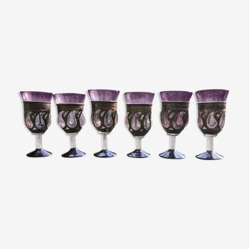 Suite de 6 verres brutalistes de couleur aubergine