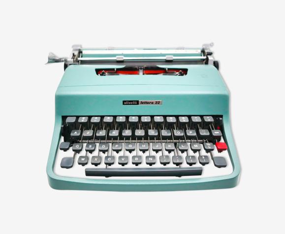 Machine à écrire Olivetti Lettera 32 bleue révisée ruban neuf