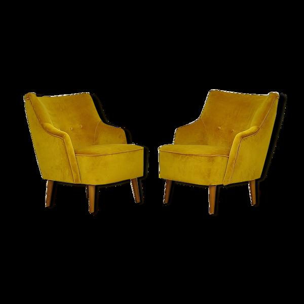 Selency Paire de fauteuils en velours jaune, années 1960